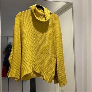 Anthropologie yellow cowl neck big sleeve sweater
